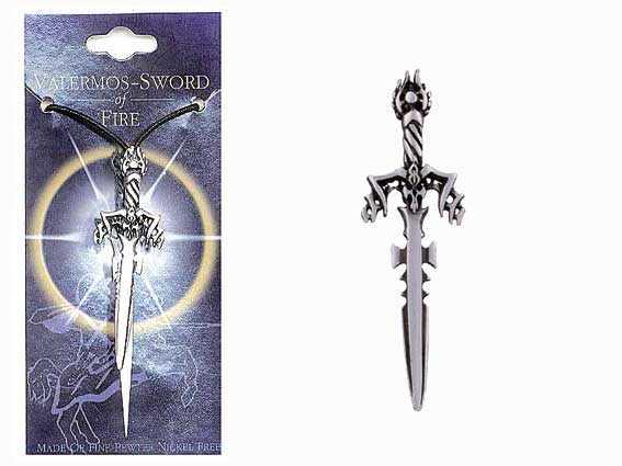 Sword Pewter Pendant - VALERMOS SWORD OF FIRE - Click Image to Close